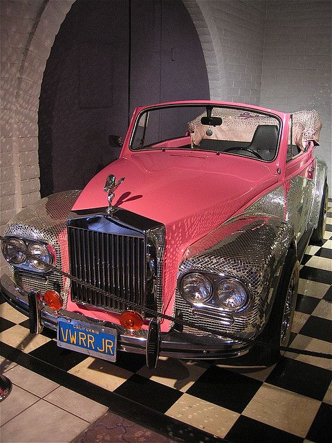 """Liberace's VW/Rolls Royce Crossover - Another mirror-adorned car, this was a VW that was converted into a Rolls Royce by George Barris. Of course, the custom license plate is perfect yet again, reading, """"VWRR JR."""""""