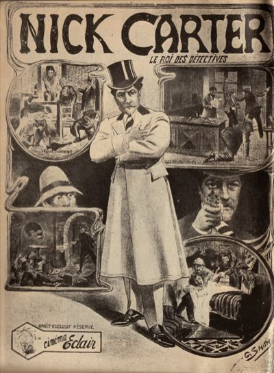 ❦ Original French film poster for Nick Carter, le roi des détectives (1908). Nick Carter, from France, is one of the first mystery-detective film series (1908-1909).