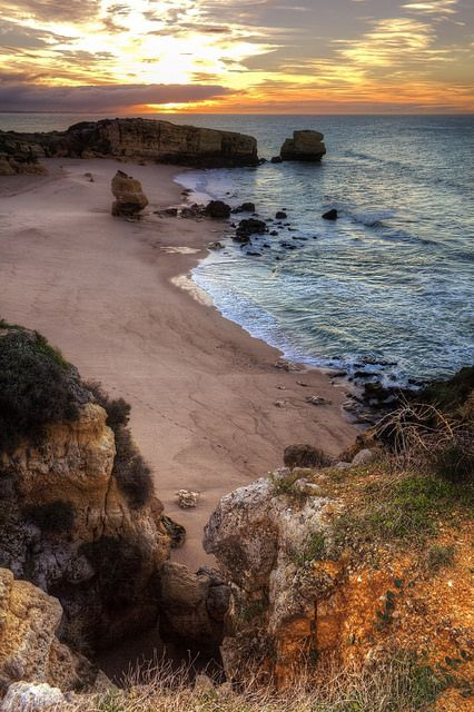 Sunrise at Sao Rafael Beach, Albufeira, Algarve, Portugal by Zú Sánchez on Flickr.