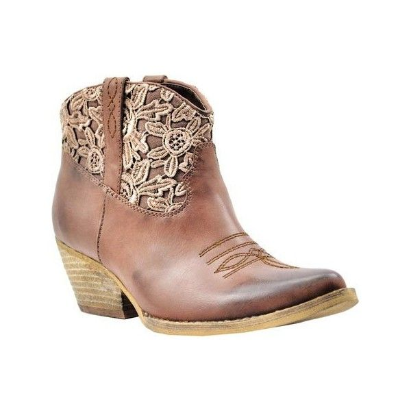 Women's Volatile Libbylou Western Bootie - Brown Faux Leather Casual ($70) ❤ liked on Polyvore featuring shoes, boots, ankle booties, brown, casual, cowboy boots, brown cowboy boots, brown ankle boots, short cowgirl boots and cowgirl boots