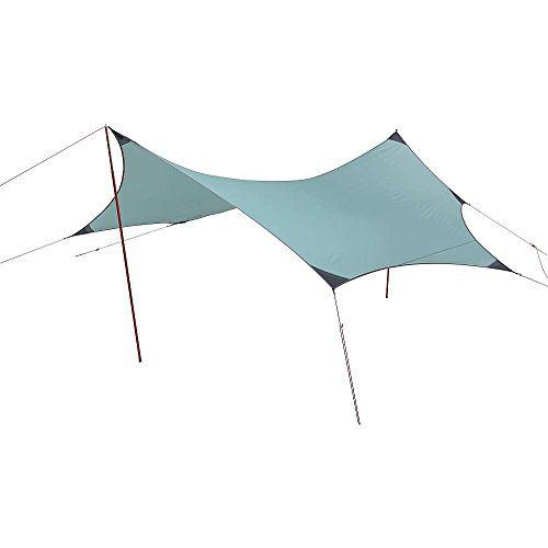 MSR Rendezvous 120 Wing. Campsite shelter and gathering area for small groups. Ideal rain, wind and sun protection for 1-4 people. Unique 7-point design pitches taut and remains stable in high wind. Lightweight setup with poles, or go lighter with trees as trekking poles. Adjustable: Height can be increased with additional accessory poles.