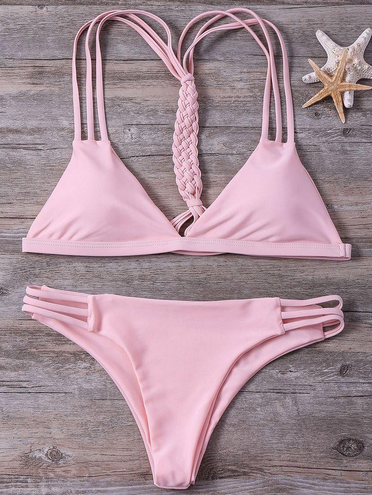 High-Cut String Plunge Bikini Set PINK: Bikinis | ZAFUL