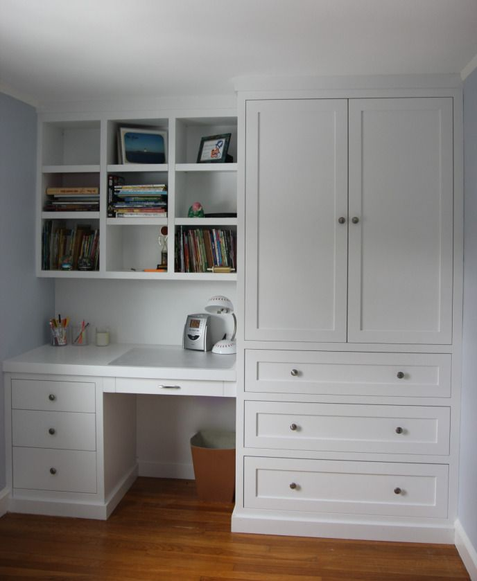 dresser and desk built in | Bedroom closet was replaced with built in desk, shelving, and dresser.