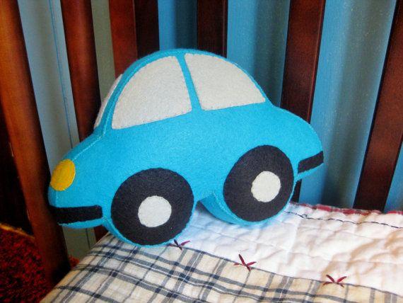 Car Shaped Plush Toy Stuffed Felt Small Crib Pillow