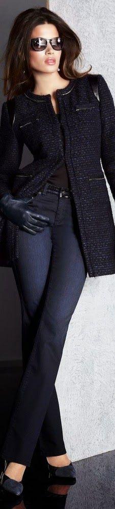 Veste col rond + jeans foncé