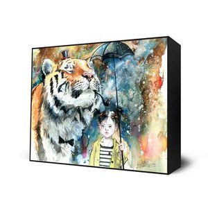 A tiger with a top hat and a pipe and a girl with a very long umbrella - I want this painting.