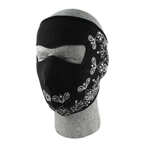 ZANheadgear Black Paisley Neoprene Face Mask