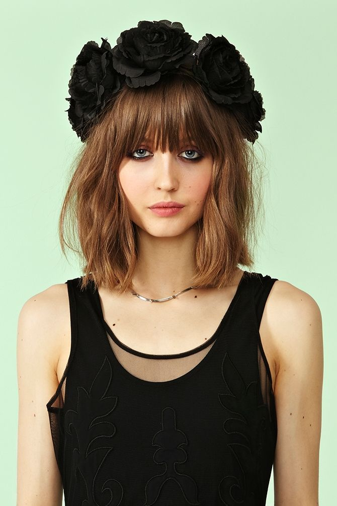 """Midnight Rose Crown"" by Cult Gaia from @NASTY GAL ($90) - 24"" circumference; handmade in Los Angeles. Woven crown topped w/ black roses, lobster-clasp closure at back, and adjustable length."