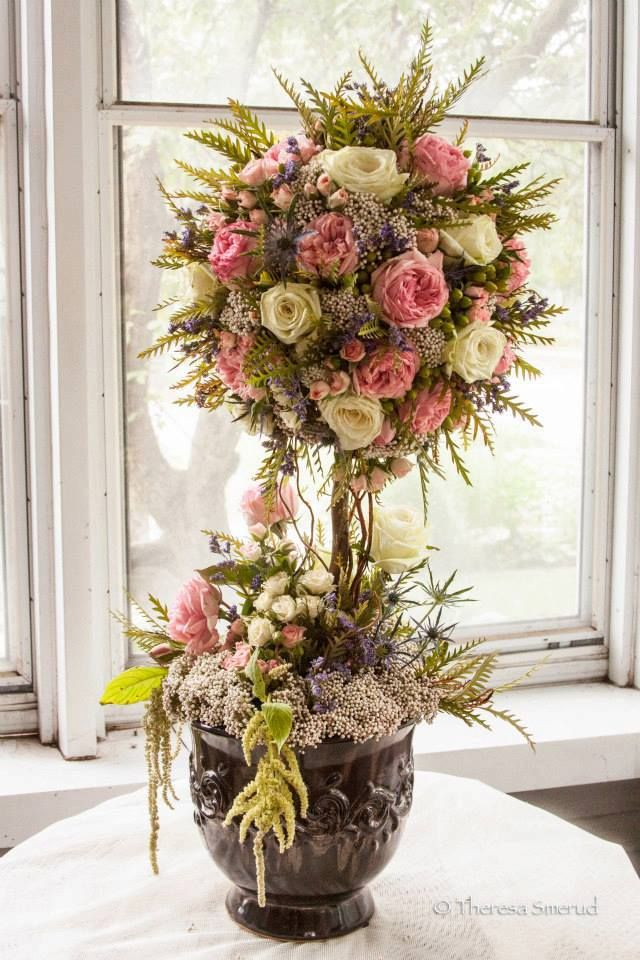 Fresh Floral Topiary Tree!  Made out of garden roses, tear roses, rice flower, thistle, grevellia greens, hypericum berries, etc.