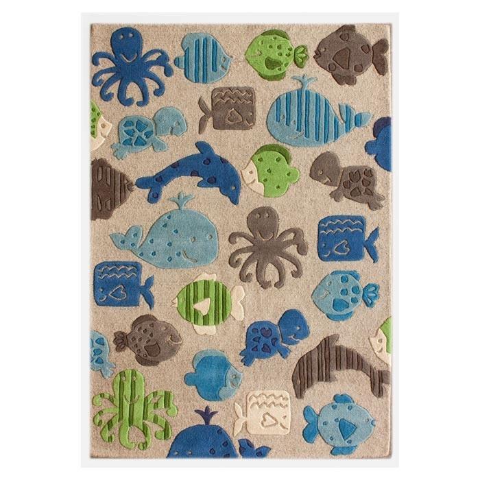 Sea Life Turtle Wave Rug2 Bath Mat: Ocean Rug For Nursery
