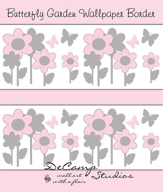 Pink and Grey Gray Butterfly Flower Garden wallpaper border wall art decals for baby girl floral nursery and childrens room decor. Soft pastel colors #decampstudios