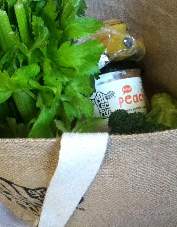 Now here's the perfect shopping bag. Eco, check. Greens, check. Fruit, check. best yoghurt, check!