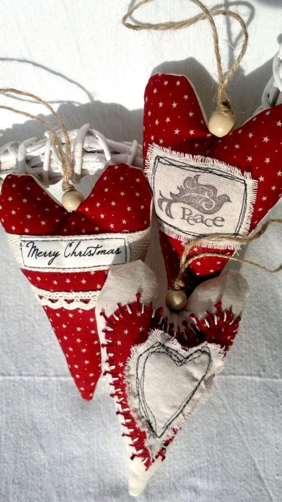 **Christmas tree Fabric heart ornament decorations ToniKami Ðℯck Ʈհe HÅĿĿs #Christmas DIY crafts rustic etsy.com