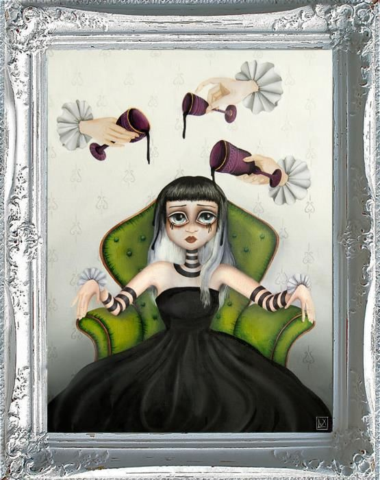 Darkness colored me, oil on canvas by Alessandra Lux popsurreal illustrator #lowbrow #popsurrealism #art #illustrativo #dark