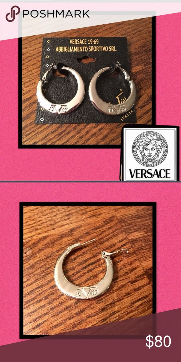 """🆕Versace🇮🇹19V69🇮🇹Logo Hoop Earrings Authentic🇮🇹Versace 19V69 Abbigliamento Sportivo❤Luxury and elegance❤ 1 1/4"""" hoops are crafted of high polished sterling silver❤Logo 🇮🇹19V69 🇮🇹is embossed on each hoop🚫trades Versace Jewelry Earrings"""