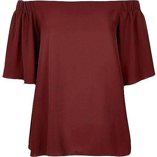 Dark red bardot top - bardot / cold shoulder tops - tops - women