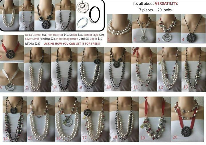 Diverse ways to wear seven different necklaces