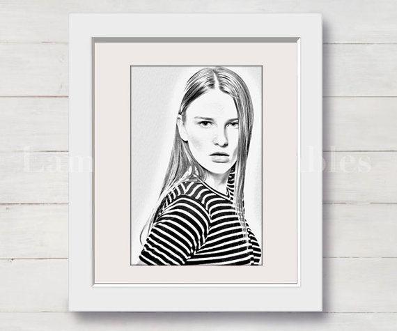 Retrato a lapiz - Retrato personalizado - Retrato carboncillo - Lamina - Laminias decorativas - Wall art - Printables - Download