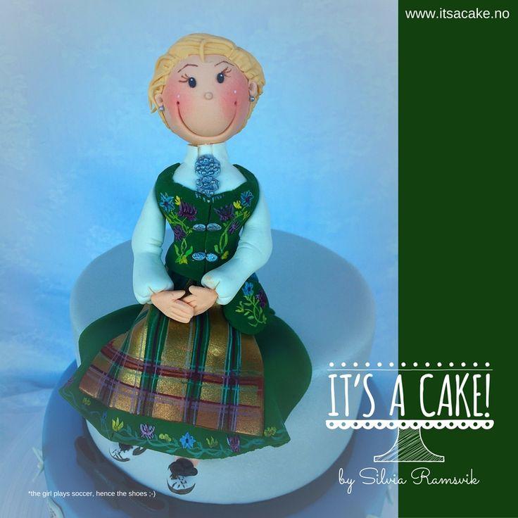 Bunad cake topper edible Norlandsbunad green