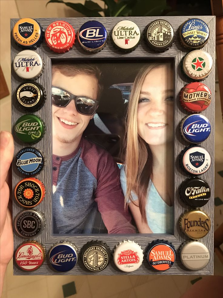 Great 21st birthday present for a boyfriend, this turned out super cute! Just hot glue the caps down to a cheap Walmart frame and you're done! Cheap and easy!