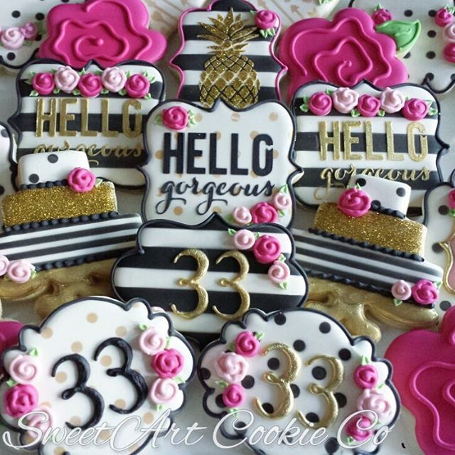 Kate Spade Inspired set for a 33rd Birthday! #customcookies #birthdaycookies #katespadecookies #pineapplecookies #goldpineapple #blackandwhitestripes #katespade #hellogorgeous #sweetartcookieco #temecula #temeculabaker