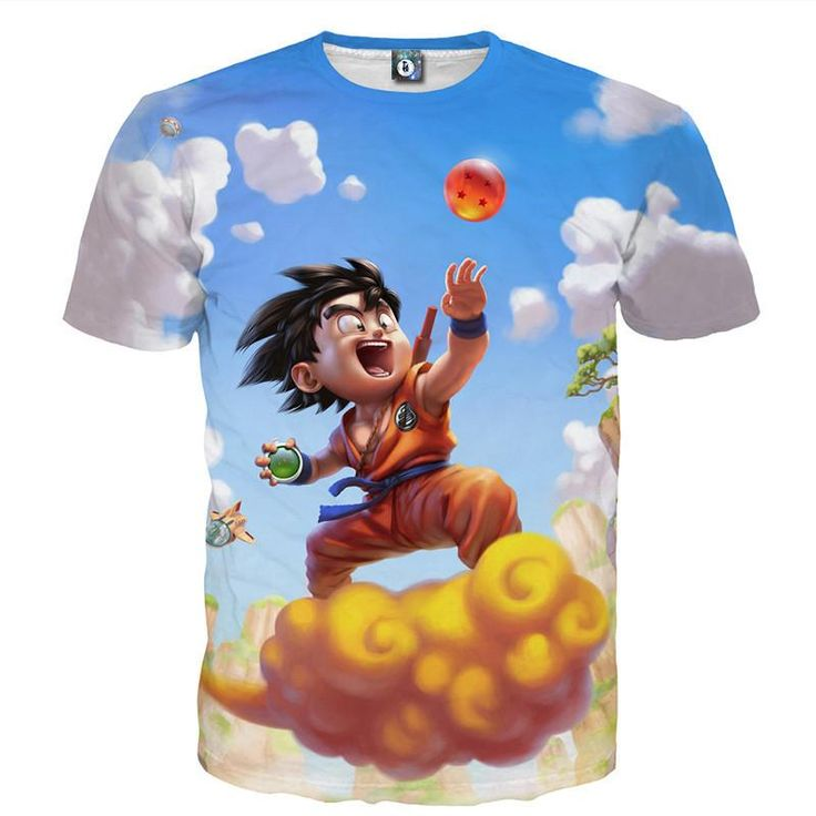 Dragon Ball Z Happy Kid Goku Nimbus T-shirt. 100% Cotton and Polyester blend, custom made sublimation printed technique and hand sewn hoodies, t-shirts, and long sleeves clothing.   For our 3D clothing, unless there is a picture on the back for our product images, all of our 3D clothing are printed front and back with the same image.                 FREE Shipping  NOT SOLD IN STORES          Gender: Unisex  Material: Cotton, Polyester Spandex Blend Machine Washable and Dryer Safe     Be...