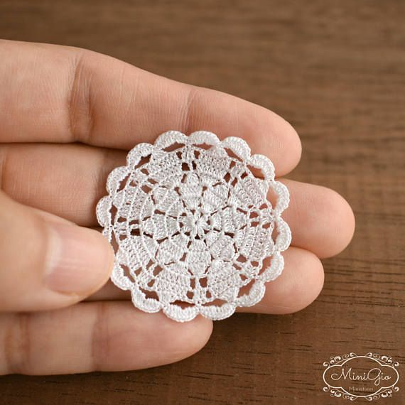Miniature crochet round doily 1.4 inches, dollhouse crochet tablecloth, 1:12 dollhouse miniature, white small doily micro crochet by MiniGio