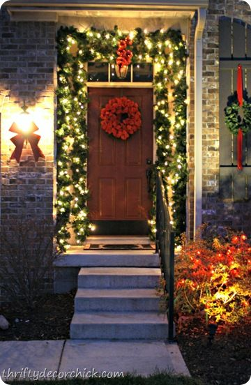 Front Porch Ideas Greenery Around Door Ribbon On
