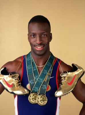 US Olympic Track and Field Star, Michael Johnson and his signature golden nikes