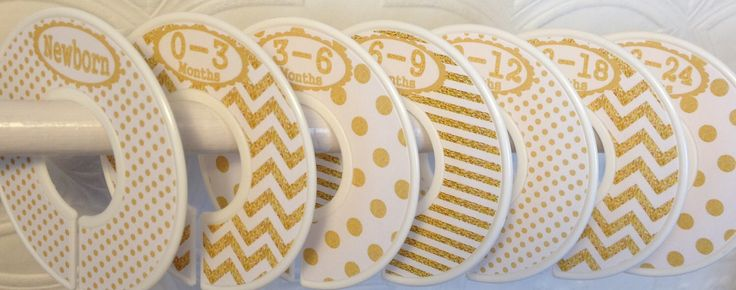 Custom Baby Closet Dividers Clothes Organizers Gold and White with Dots Chevrons CD002 Baby Girl Boy Shower Gift Nursery Decor by GinaMarieOriginals on Etsy https://www.etsy.com/listing/197623492/custom-baby-closet-dividers-clothes