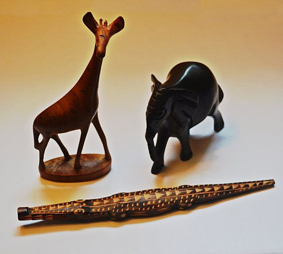 Wood Animal Carvings Hand Carved Wood African by Collectitorium