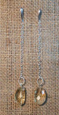 orecchini  molto  lunghi in  argento  e  quazo  citrino   earrings in silver and citrine