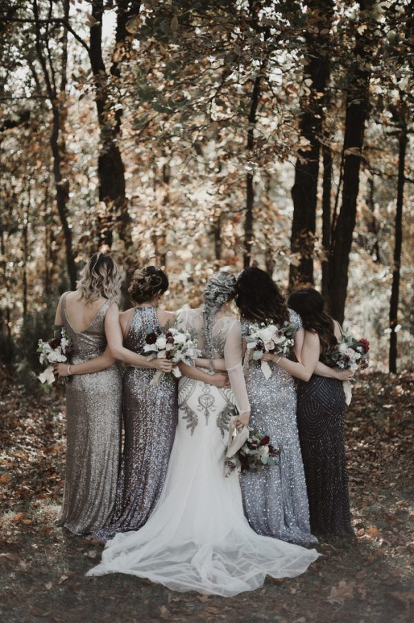 Eclectic Silver and Burgundy Oklahoma Wedding at Skelly Lodge
