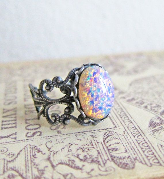 Antique Silver Ring Fire Opal Ring- don't care for the setting but LOVE the stone!