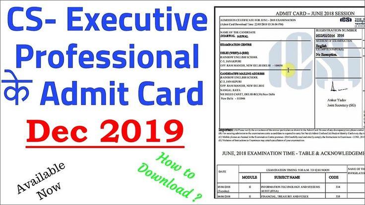 Cs Professional Admit Card June 2019 In 2020 Cards Teaching Company Secretary
