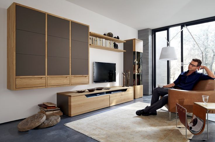 Dazzling Wood Finish Wall Units Collection From Hülsta : Enthralling Wood Media Center in Impressive Living Room with White Shade Arc Lamp and Square Beige Rug also White Wall Painting and Light Brown Leather Chair