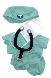 Delightful Doctor Outfit.  Fun quality Outfit & Accessories Set  Especially designed for your Stuff Your Own Plush Toy  Each Outfit & Accessories set includes a multi-piece outfit, hanger, and accessories - all especially for your new Plush Toy!!