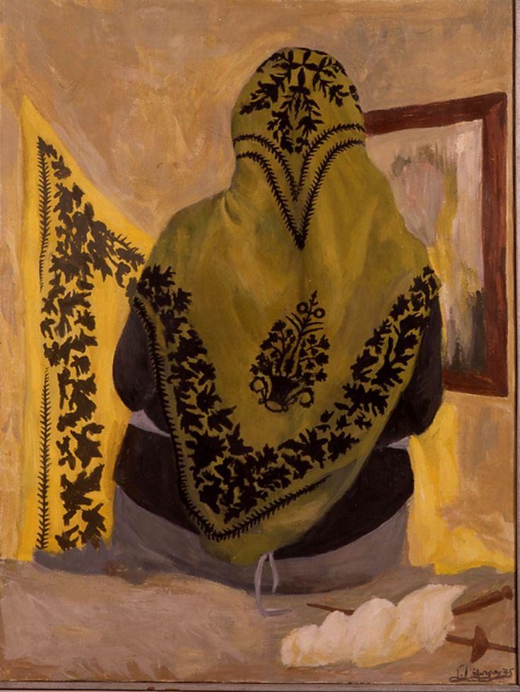 """Ελαιογραφία σε μουσαμά του Γιώργου Λάμπρου, με θέμα γυναίκα της Σκύρου με """"κουμιώτικο"""" μαντίλι. Σκύρος, 1975. Oil painting by Yorgos Lambrou depicting woman of Skyros wearing a """"koumiotiko"""" kerchief. Skyros, 1975."""