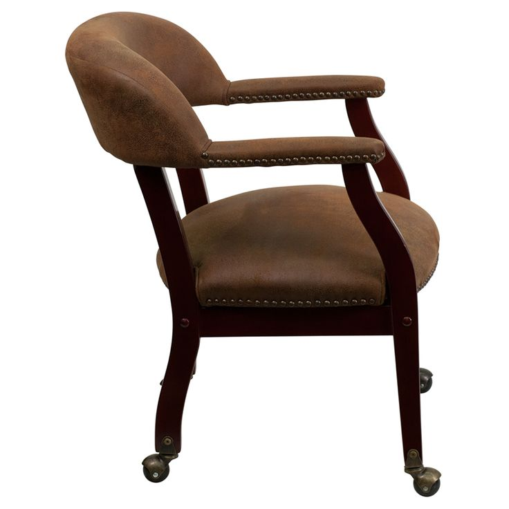 Bomber Jacket Brown Luxurious Conference Chair with Casters, B-Z100-BRN-GG by Flash Furniture   BizChair.com