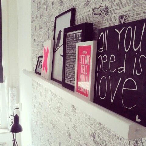 Slaapkamer zwart wit neon roze  je t ♡ my home  Pinterest