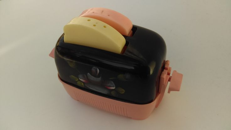 Mid-Century Plastic Toaster with Salt & Pepper Toast and Painted Tole Flowers by TheCelticBelle on Etsy