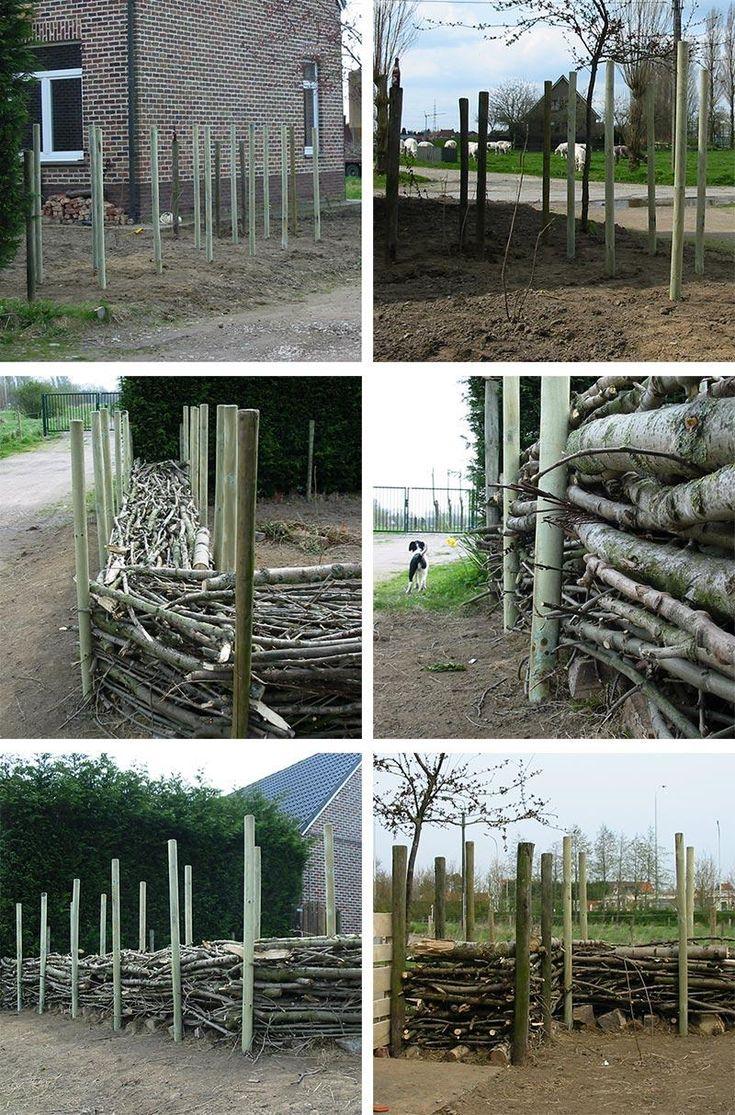Website met foto 39 s bouwen van een houtwal takkenhaag hoe en waarom takkenwal bijen - Hek begroeide ...
