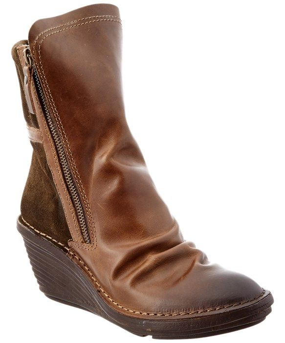 FLY London Simi Leather & Suede Wedge Boot