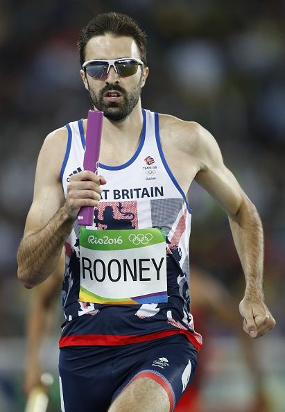Great Britain's Martyn Rooney competes in the Men's 4x400m Relay Round 1 during…