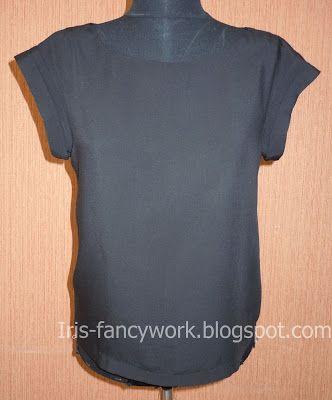 My Fancywork Blog: Черная блузка из штапеля со спущенными цельнокроенными рукавами и металлической застежкой-молнией на спинке.