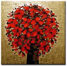 Ücretsiz nakliye, 100% el yapımı soyut kalın bıçak kırmızı çiçek yağlıboya tuval duvar sanatı ev dekor (hayır çerçeve)(China (Mainland))