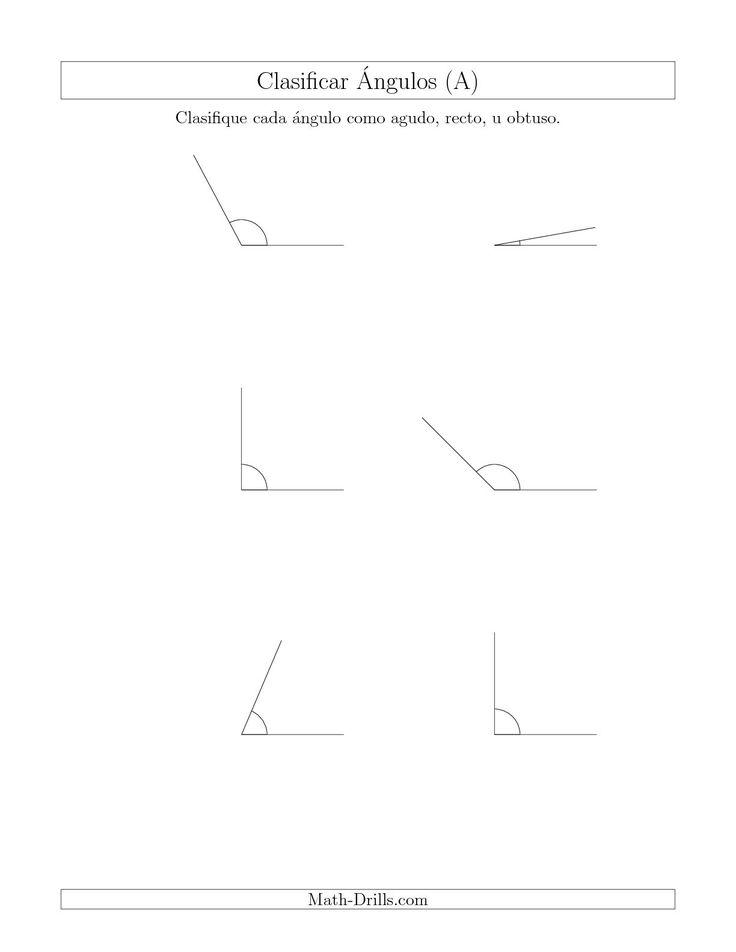 La hoja de ejercicios de matemáticas de Identificar Ángulos Simples (Agudo, Recto, Obtuso) (A) de la página Hojas de Ejercicios de Geometría en MatesLibres.com.