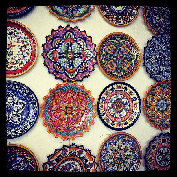 """Mexican Ceramic Plates Ideal for as """"adornos"""" for my Tiny Kitchen. Platos de Ceramica Mexicana, ideal como adornos para mi futura cocina mini."""