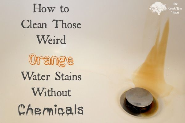 The Creek Line House: How to Clean Orange Water Stains - huh .. w/just a little green scrubby .. gonna have to try this one and see if it works. lp