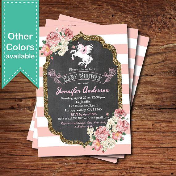 Invitación de ducha baby Unicorn. Francesa rosa rayas 76e767d54e5e9